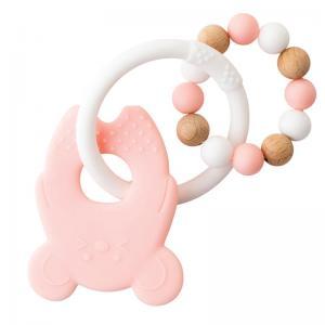 Nattou Lapidou Teether Mouse Pink / White Soft Silicone & Wood