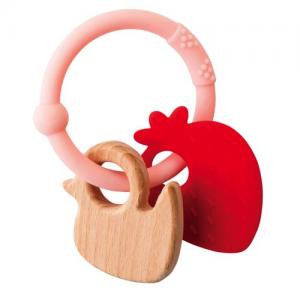 Nattou Lapidou Teether Strawberry Soft Silicone & Wood