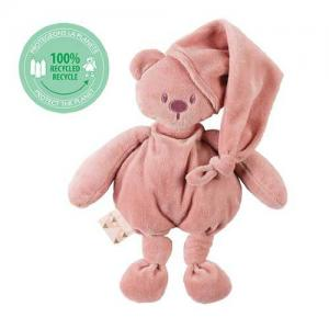 Nattou Lapidou Stuffed Bear With Hood Old Pink Height about 36 cm