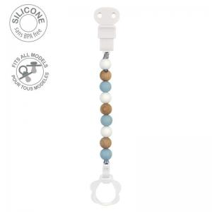Nattou Lapidou Pacifinder Pearls Wood / Light Blue Silicone
