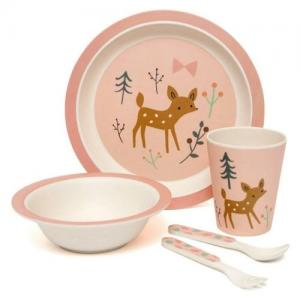 Petit Monkey Bamboo Kids Tableware Roebuck Pink