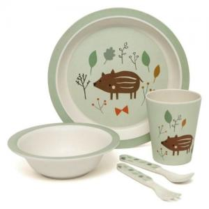 Petit Monkey Bamboo Kids Tableware Wild Boar Mint Green