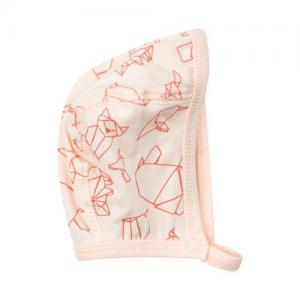 Pippi Preamture Helmet Cap Pink With Geometric Animals