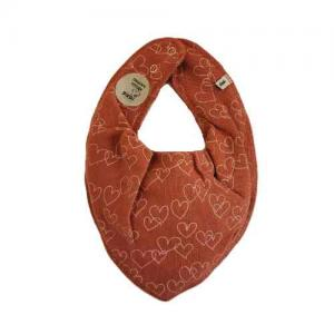 Pippi Scarf / Fabric Bib - 452 Rust with hearts