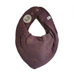 Pippi Scarf / Fabric Bib - 610 Dark Purple with Golden Hearts