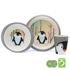 Children's tableware three pieces of bamboo Penguin