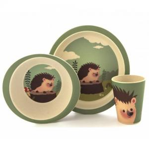 Children's tableware three pieces of bamboo Hedgehog