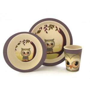 ​Pure kids Bamboo Children's tableware 3 parts Owl