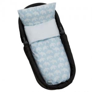 Rätt Start Bed Set for Stroller/Cradle Organic Elephant Blue
