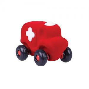 Rubbabu Naturlig Skumgummi Mellan Ambulans Röd