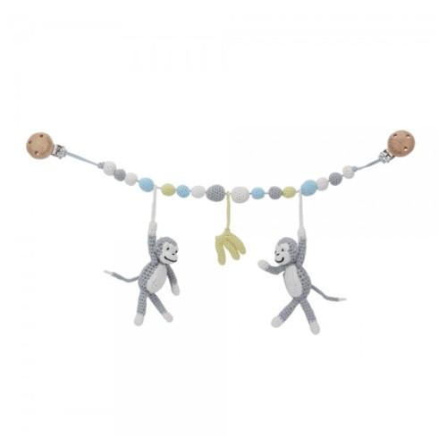 Sindibaba Crochet Stroller Grey Monkey