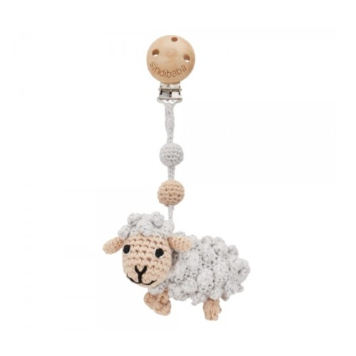 Sindibaba Crochet Stroller Toy Grey Sheep