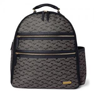 Skip Hop Backpack Deco Saffiano Interweaved Lines Black