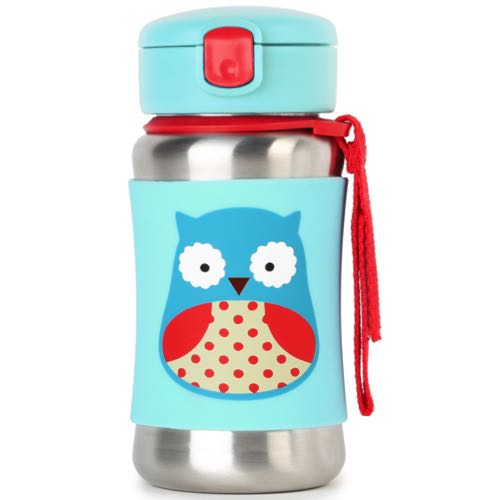 Skip Hop Steel Bottle With Straw Zoo Owl