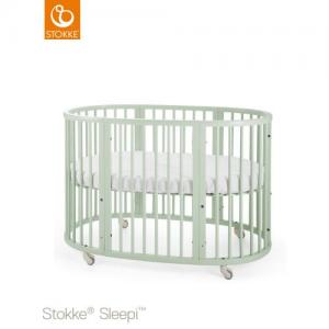 Stokke Sleepi Säng 120 cm inklusive madrass Mint Green