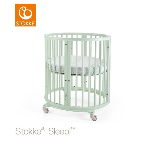 Tienerbed Incl Matras.Stokke Sleepi Mini Incl Mattress Mint Green Lilla Violen Jonkoping