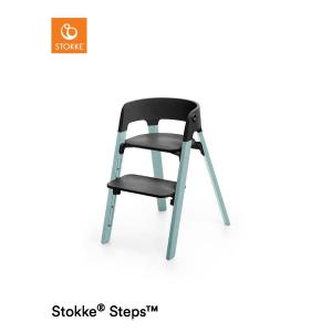 Stokke Steps Chair with Black Seat and Beech Wood Legs Aqua Blue