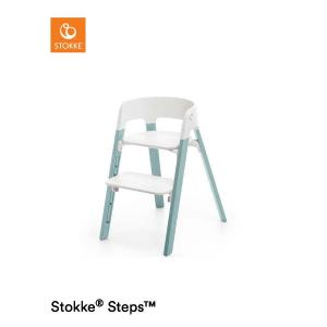 Stokke Steps Chair with White Seat and Beech Wood Legs Aqua Blue