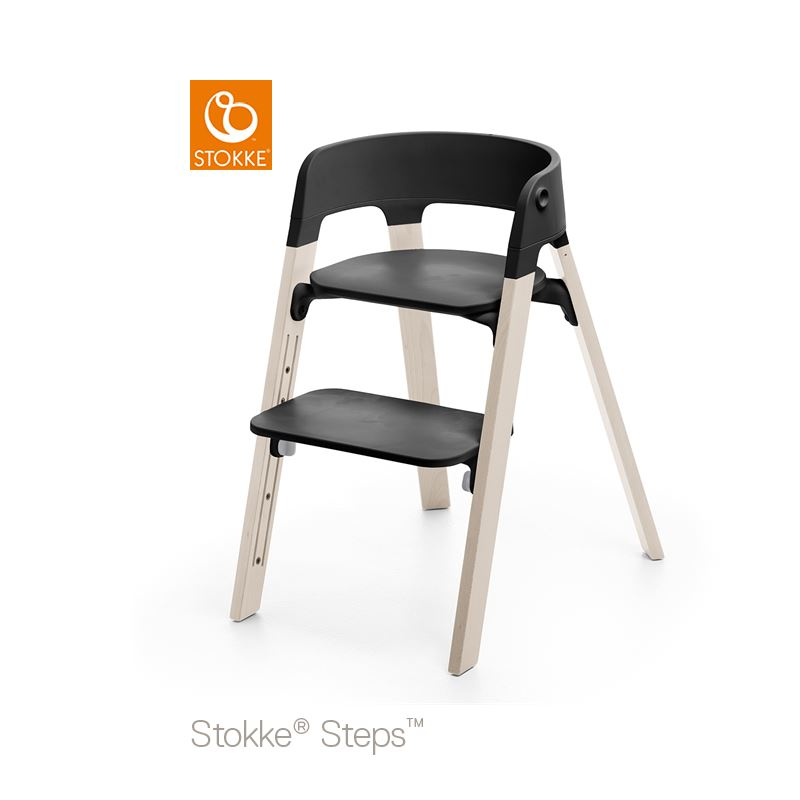 Stokke Steps Stol med Svart Sittdel och Stolsben i Bok Whitewash