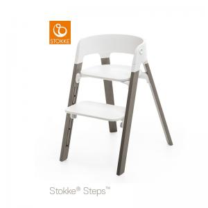 Stokke Steps Chair with Black Seat and Beech Wood Legs Hazy Grey