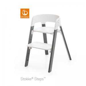 Stokke Steps Chair with Black Seat and Beech Wood Legs Storm Grey