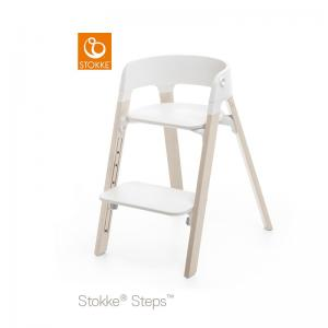Stokke Steps Chair with Black Seat and Beech Wood Legs White Wash