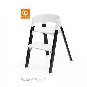 Stokke Steps Chair with White Seat and Oak Wood Legs Black