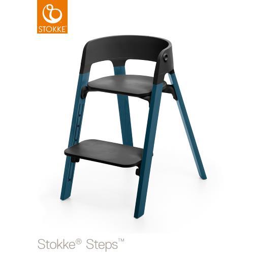 Stokke Steps Stol med Svart Sittdel och Stolsben i Bok Midnight Blue