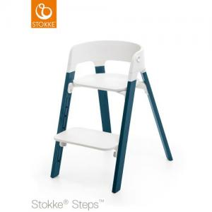 Stokke Steps Chair with White Seat and Beech Wood Legs Midnight Blue