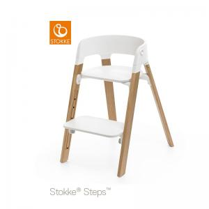 Stokke Steps Chair with White Seat and Oak Wood Legs Natural
