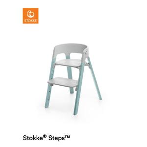 Stokke Steps Chair with Grey Seat and Beech Wood Legs Aqua Blue