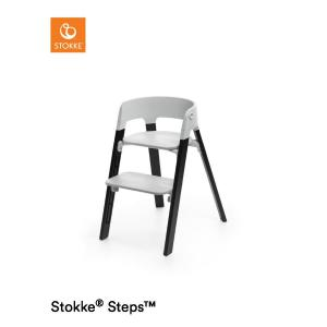 Stokke Steps Chair with Grey Seat and Oak Wood Legs Black