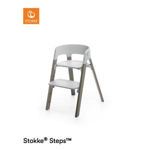 Stokke Steps Chair with Grey Seat and Beech Wood Legs Hazy Grey
