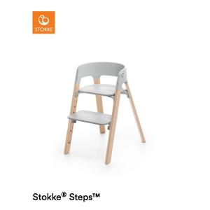 Stokke Steps Chair with Grey Seat and Beech Wood Legs Natural