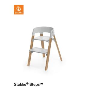 Stokke Steps Chair with Grey Seat and Oak Wood Legs Natural