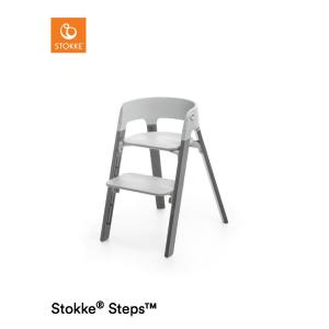 Stokke Steps Chair with Grey Seat and Beech Wood Legs Storm Grey