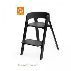 Stokke Steps Chair with Black Seat and Oak Wood Legs Black