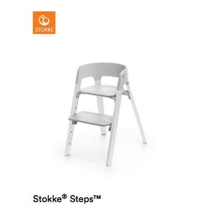 Stokke Steps Chair with Grey Seat and Oak Wood Legs White