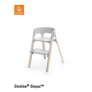 Stokke Steps Chair with Grey Seat and Beech Wood Legs Whitewash