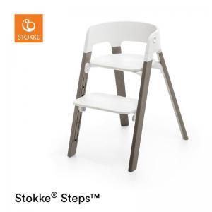 Stokke Steps Stol VIT Sittdel / HAZY GREY Stolsben i Bok