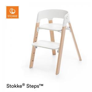 Stokke Steps Stol VIT Sittdel / NATURAL Stolsben i Bok