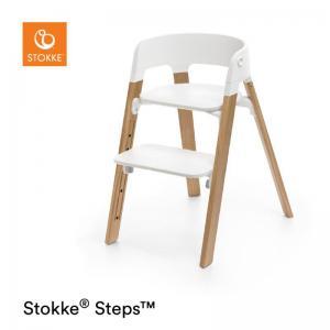 Stokke Steps Stol VIT Sittdel / OAK NATURAL Stolsben i Ek