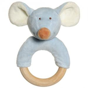 Teddykompaniet Diinglisar Rattle with Wooden Ring Mouse