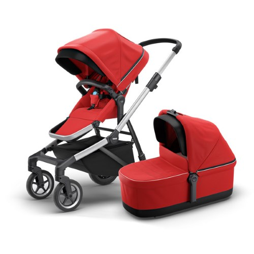 Thule Sleek Energy Red Stroller with Seat & Bassinet