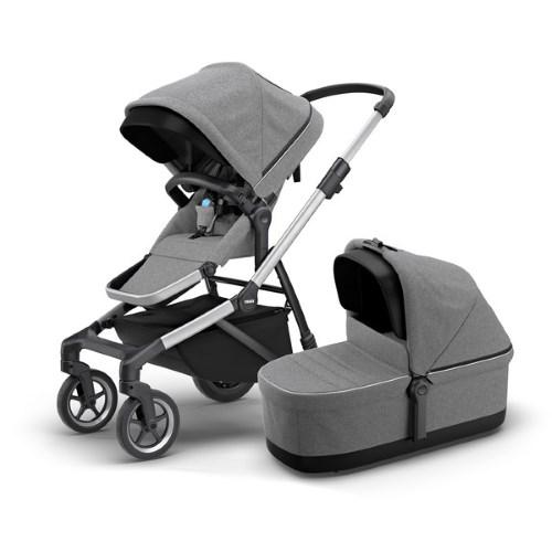 Thule Sleek Grey Melange Stroller with Seat & Bassinet