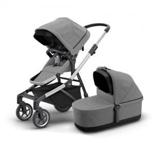 Thule Sleek Grey Melange Stroller with Seat & Bassinet