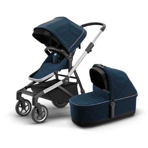 Thule Sleek Navy Blue Stroller with Seat & Bassinet