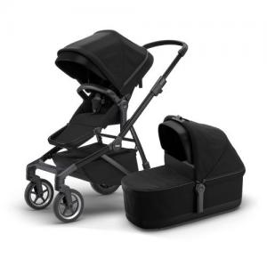 Thule Sleek Black on Black Stroller with Seat & Bassinet