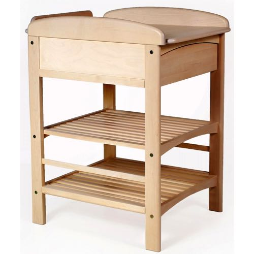 Troll Möbler LUX Skötbord med Låda och Hyllor Vitlaserad