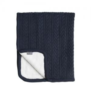 Vinter & Bloom Filt Blå Stickad med fleecefoder (Cuddly Midnight Blue)